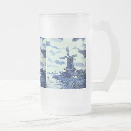 Vintage Antique Delft Blue Tile - Windmill Coffee Mug