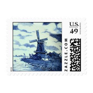 Vintage Antique Delft Blue Tile - Windmill Postage Stamp