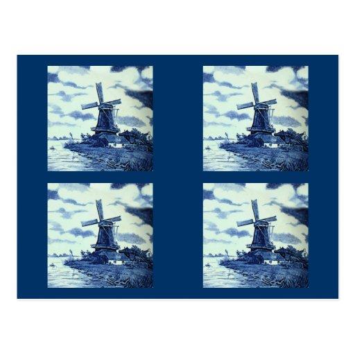 Vintage Antique Delft Blue Tile - Windmill Postcard