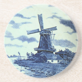 Vintage Antique Delft Blue Tile - Windmill Sandstone Coaster