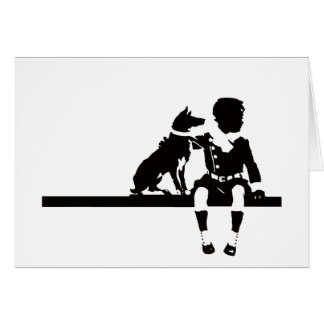 Vintage Antique Dog Child Kid Animal Graphic Bold Card