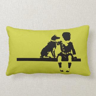 Vintage Antique Dog Child Kid Animal Graphic Bold Throw Pillow