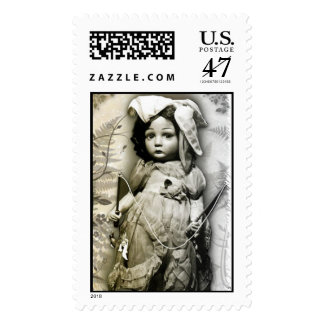 Vintage Antique Doll With Toy Photograph Postage Stamp