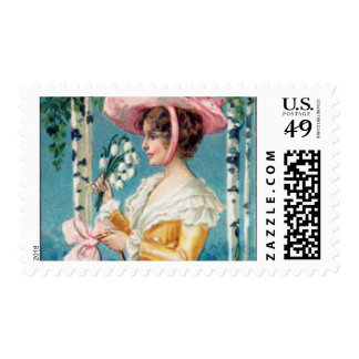Vintage Antique Easter Post Dressed beautiful girl Postage