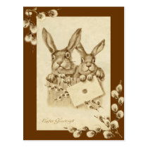 Vintage/Antique Easter Rabbit Sepia Postcard