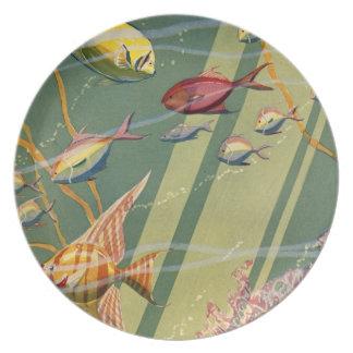 Vintage Antique Fish Undersea Ocean Sea Colorful Plates