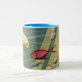 Vintage Antique Fish Undersea Ocean Sea Colorful Two-Tone Coffee Mug