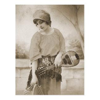 Vintage Antique Flapper Women Portraits, Illustrat Postcard