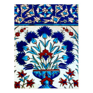 Vintage Antique Floral Abstract Turkish tiles Postcard