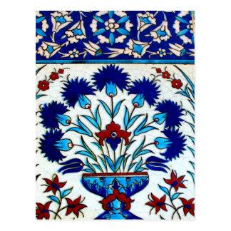 Vintage Antique Floral Abstract Turkish tiles Postcard