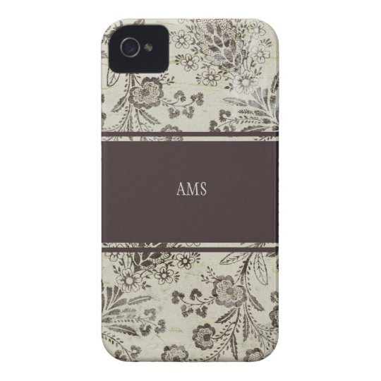 Vintage Antique Floral Custom Monogram Brown iPhone 4 Cover