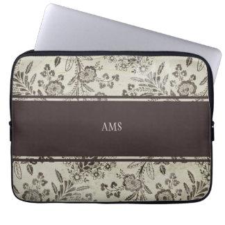 Vintage Antique Floral Custom Monogram Brown Laptop Sleeves