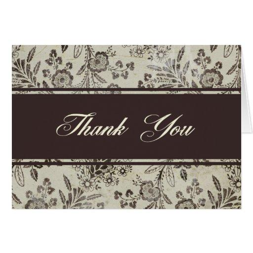 "Vintage Antique Floral Thank You - ""Cambridge"" Card"