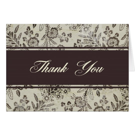 Vintage Antique Floral Thank You Personalized Card