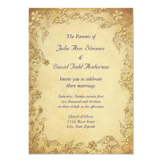Vintage Antique Floral Wedding 5x7 Paper Invitation Card