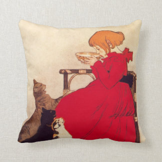 Vintage Antique Girl Cat Theophile Steinlen Animal Throw Pillow