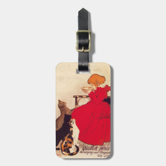 Vintage Antique Girl Milk Cats Theophile Steinlen Bag Tag