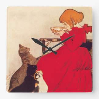 Vintage Antique Girl Milk Cats Theophile Steinlen Square Wall Clock