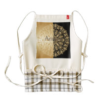 Vintage,antique,gold,black,pattern,chic,elegant, Zazzle HEART Apron