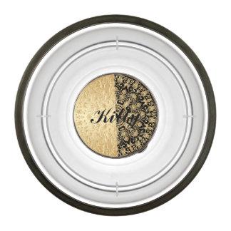 Vintage,antique,gold,black,pattern,chic,elegant, Pet Bowl