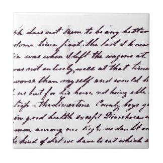 Vintage Antique Handwriting Ceramic Tile