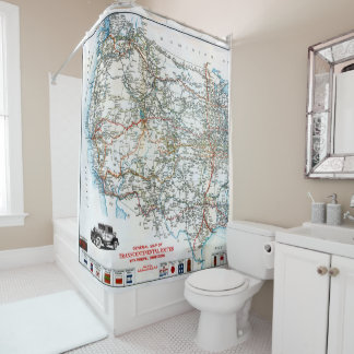 Vintage Antique Highway Map of the Western USA Shower Curtain