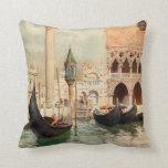 Vintage Antique Italy Venice Gondola Shrine Throw Pillows