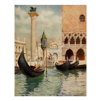 Vintage Antique Italy Venice Gondola Shrine Poster