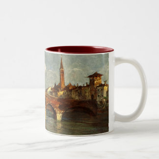 Vintage Antique Italy Verona Roman Bridge Two-Tone Coffee Mug