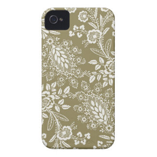 Vintage Antique Khaki and White Floral and Damask iPhone 4 Case