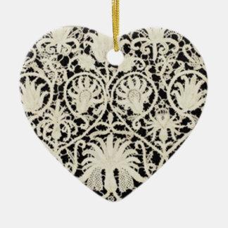 Vintage Antique Lace and Linen Ceramic Ornament