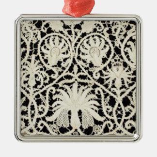Vintage Antique Lace and Linen Metal Ornament