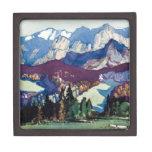 Vintage Antique Landscape Watercolor Dolomites Premium Jewelry Box