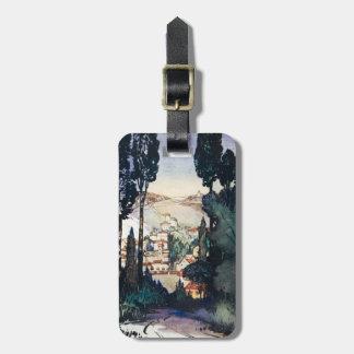 Vintage Antique Landscape Watercolor Fiesole Italy Bag Tag