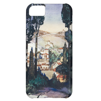 Vintage Antique Landscape Watercolor Fiesole Italy iPhone 5C Cover