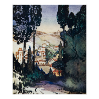Vintage Antique Landscape Watercolor Fiesole Italy Poster