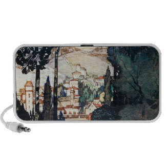 Vintage Antique Landscape Watercolor Fiesole Italy Travelling Speakers
