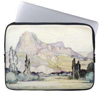 Vintage Antique Landscape Watercolor Le Puy France Laptop Sleeve