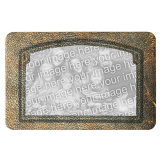 Vintage Antique Leather Look Frame Photo Insert Rectangular Photo Magnet