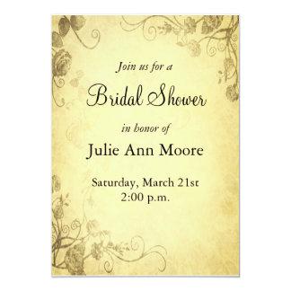 "Vintage Antique Look Bridal Shower Invitation 5"" X 7"" Invitation Card"