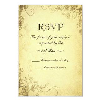 "Vintage Antique Look Wedding RSVP Card 3.5"" X 5"" Invitation Card"