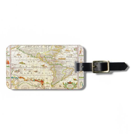 Vintage Antique Map New World Luggage Tag