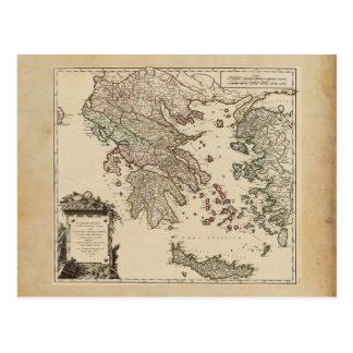 Vintage Antique Map of Ancient Greece Graecia Vetu Postcard
