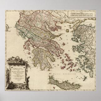 Vintage Antique Map of Ancient Greece Graecia Vetu Poster