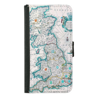 Vintage Antique Map of Britannia Wallet Phone Case For Samsung Galaxy S5