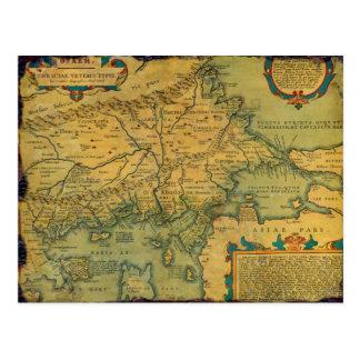 Vintage Antique Map of Thrace Greece Turkey Europe Postcard