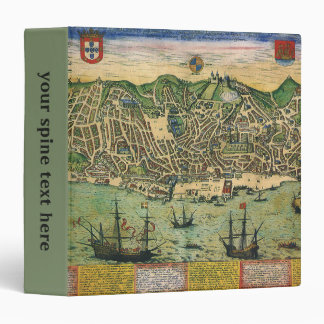 Vintage Antique Map; Town Plan of Lisbon, 1598 3 Ring Binders