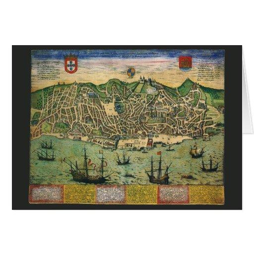 Vintage Antique Map; Town Plan of Lisbon, 1598 Greeting Card
