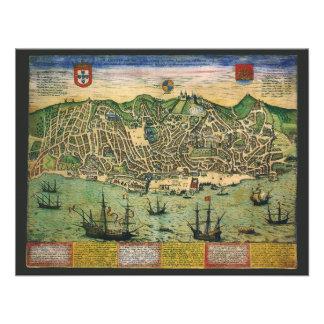 Vintage Antique Map; Town Plan of Lisbon, 1598 Personalized Announcement