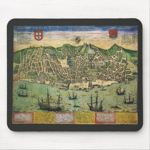 Vintage Antique Map; Town Plan of Lisbon, 1598 Mouse Pad